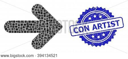 Square Dot Mosaic Right Direction And Con Artist Unclean Stamp Seal. Blue Stamp Seal Contains Con Ar
