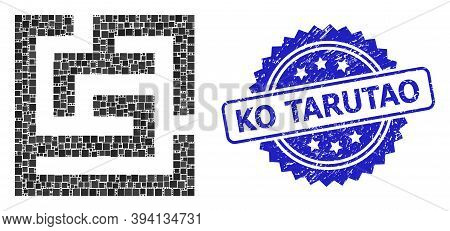 Squared Dot Mosaic Labyrinth And Ko Tarutao Unclean Stamp Seal. Blue Stamp Seal Includes Ko Tarutao