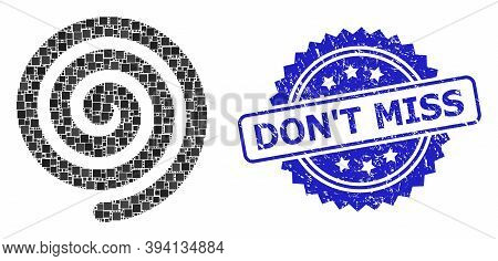 Square Mosaic Hypnosis Spiral And Dont Miss Corroded Stamp Seal. Blue Stamp Includes Dont Miss Title
