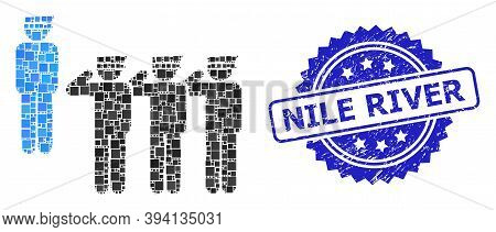 Square Collage Military Unit And Nile River Unclean Stamp Seal. Blue Stamp Seal Includes Nile River
