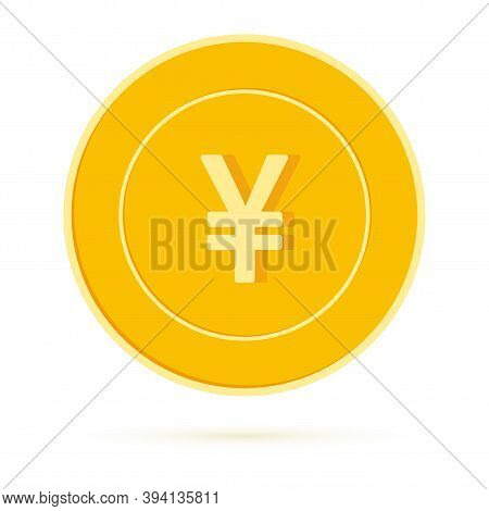 Chinese Yuan Coin Isolated On White Background. Cny Yellow Gold Coin. China Metal Money. Unusual Car