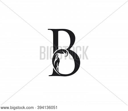 Classic B Letter Swirl Logo. Black B With Classy Leaves Shape Design Perfect For Boutique, Jewelry,