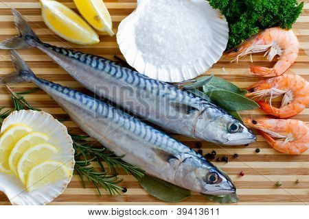 Seafood, fish - fresh mackerel and shrimps in cuisine