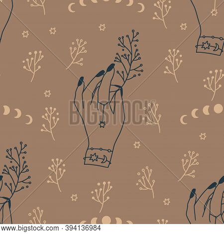 Celestial Seamless Pattern With Woman Hand And Brunch. Mystic Floral Femine Girl Bohemian Print. Boh