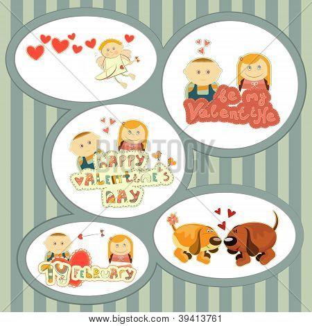 Valentines Day, Set Of Stickers