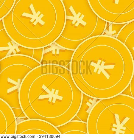 Chinese Yuan Coins Seamless Pattern. Immaculate Scattered Cny Coins. Big Win Or Success Concept. Chi