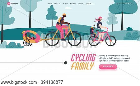Website Interface Design With Cycling Family Cartoon Characters, Flat Vector Illustration. Family Tr