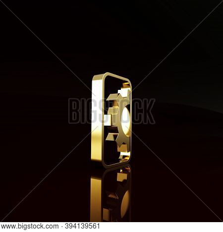 Gold Software, Web Development, Programming Concept Icon Isolated On Brown Background. Programming L