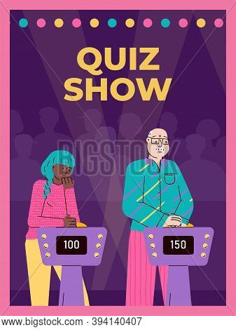 Television Studio With Players Guessing Quiz Questions In Intellectual Game Show. Live Broadcast Or