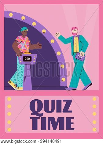 Quiz Time Advertising Banner Or Poster Template With Cartoon Character Of Quiz Show Anchorman And Pl