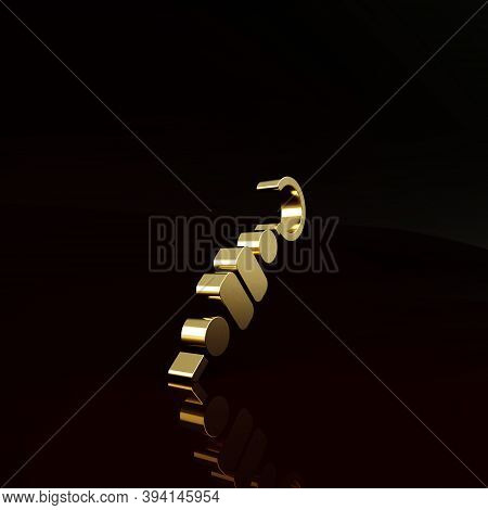Gold Grilled Shish Kebab On Skewer Stick Icon Isolated On Brown Background. Meat Kebab On Skewer Sti