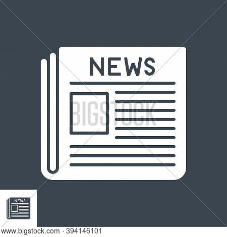 Newspaper Glyph Vector Icon. Flat Icon Isolated On The Black Background. Editable Eps File. Vector I
