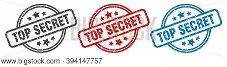 Top Secret Stamp. Top Secret Round Isolated Sign. Top Secret Label Set
