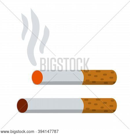 Cigarette. Smoking And A Cigarette Butt With Smoke. Bad Habit.