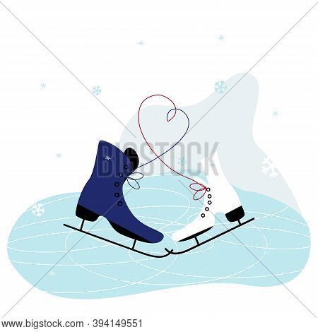 Men's And Women 's Ice Skates. Winter Holidays Card With Ice Skates. Skating Time. Winter Sport And