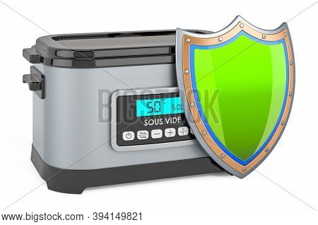 Sous Vide Machine With Shield, 3d Rendering Isolated On White Background
