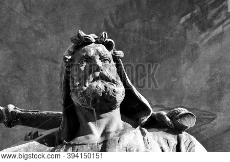 Black And White Picture Of The Wilhelm Tell (english William Tell) Statue Of The Tell Monument Locat
