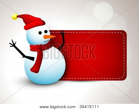 Merry Christmas greeting card, gift card or banner with Happy Snowman. EPS 10. poster