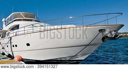 Luxury 84 Ft. Super Motor Yacht Moored At At Spit Bridge Marina, Sydney, Australia.