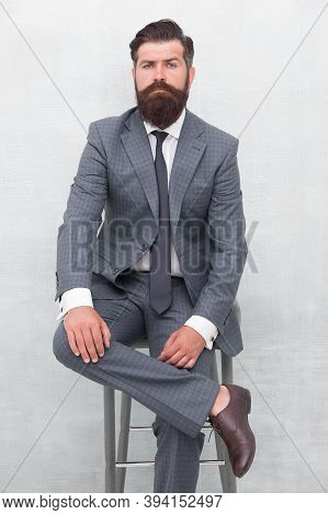 Fairness And Justice. Classy And Formal. Bearded Man Wear Formal Suit. Elegant Lawyer Sit On Chair.