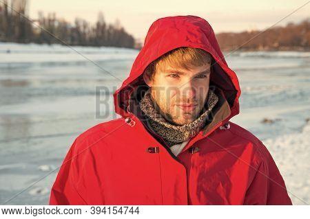 Comfortable Outfit. Man Warm Jacket Snowy Nature Background. Exploration Of Polar Regions. Winter De