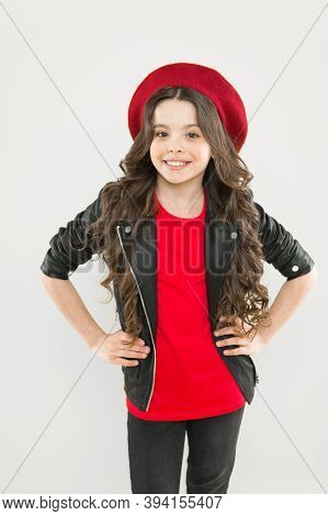 Simply The Best In Fashion. Happy Cute Child With Fashion Look. Small Fashion Model Smiling On Yello