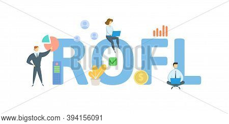 Rofl, Return On Financial Leverage. Concept With Keywords, People And Icons. Flat Vector Illustratio