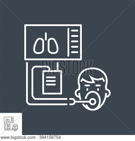 Medical Ventilator Related Vector Thin Line Icon. Ventilator With The Image Of The Lungs And A Human