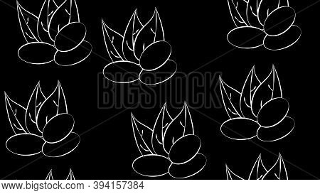 Abstract Seamless Pattern Of A Set Of Almond Kernels, For Menu Design Or Confectionery, Textiles, Ve