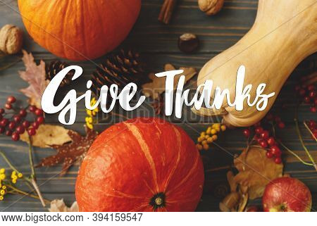 Give Thanks Text Handwritten On Pumpkins, Autumn Leaves, Apples, Anise, Cones, Acorns And Flowers On