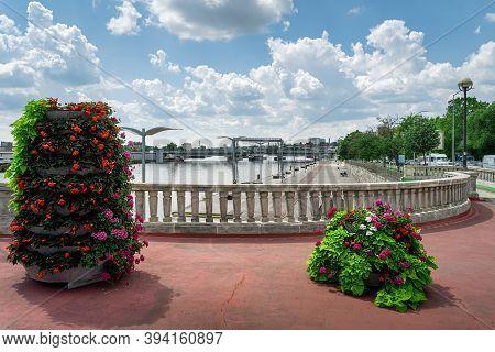 Flower Decoration On Long Bridge, Called Most Dlugi On Wyszynskiego St. In Szczecin, Poland. Promena