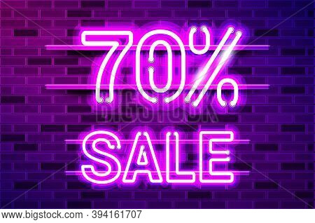 70 Percent Sale Glowing Neon Lamp Sign. Realistic Vector Illustration. Purple Brick Wall, Violet Glo