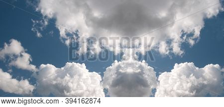 Nephology At Its Best. A Beautiful Meteorological Sky Cloudscape Scene, With White  Cumulonimbus Clo