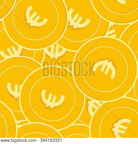 European Union Euro Coins Seamless Pattern. Unequaled Scattered Eur Coins. Big Win Or Success Concep