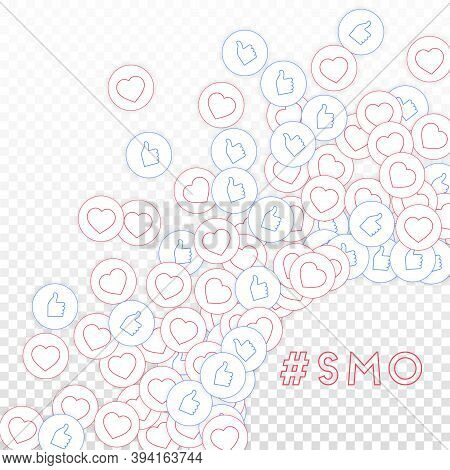 Social Media Icons. Smo Concept. Falling Scattered Thumbs Up Hearts. Radiant Right Bottom Corner Ele