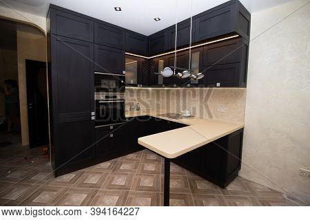 Modern Kitchen Made Of Solid Black . The Kitchen Is Of Solid Oak . Kitchen Details. Modern Kitchen F