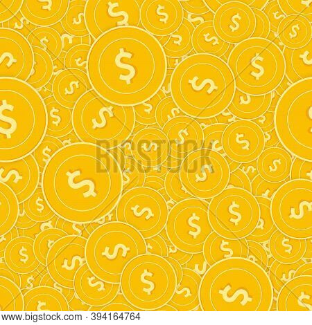 American Dollar Coins Seamless Pattern. Gorgeous Scattered Usd Coins. Big Win Or Success Concept. Us