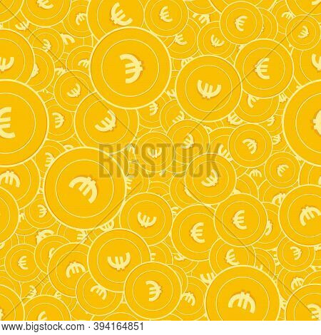 European Union Euro Coins Seamless Pattern. Wondrous Scattered Eur Coins. Big Win Or Success Concept