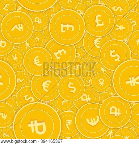 International Currencies Coins Seamless Pattern. Beauteous Scattered Global Coins. Big Win Or Succes