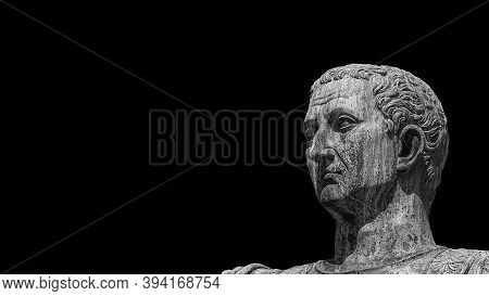 Caesar Augustus Nerva Emperor Of Ancient Rome Bronze Statue Along Imperial Fora Road (black And Whit