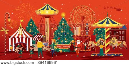 Christmas Fair Greeting Card In Flat Style. Winter Carnival And Carousels, Christmas Markets And Sho