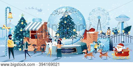 Christmas Carnival Flat Style Greeting Card. Festive Amusement Park, Carousel And Ferris Wheel, Fir