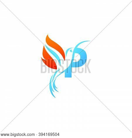 Letter P Combined With The Fire Wing Hummingbird Icon Logo