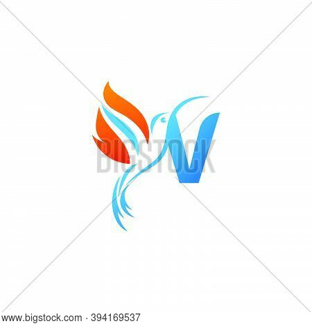 Letter V Combined With The Fire Wing Hummingbird Icon Logo