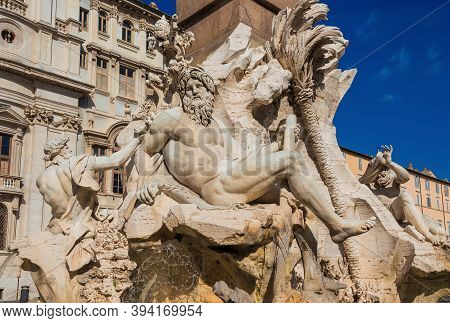Ganges, Danube And Nile Statues From Wonderful Baroque Fountain Of Four River In Piazza Navona Squar