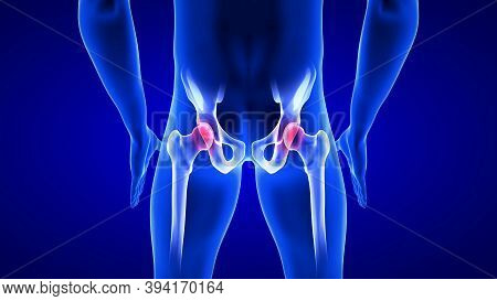 Hip Pain Close-up Illustration. Blue Human Anatomy Body 3d Scan Render On Blue Background