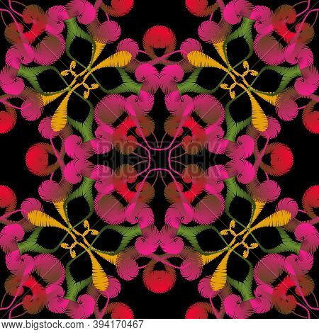 Embroidery Floral Vector Seamless Pattern. Damask Style Grunge Paisley Flowers. Decorative Colorful