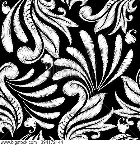 Embroidery Floral Vector Seamless Pattern. Ethnic Style Grunge Paisley Flowers. Decorative Baroque T
