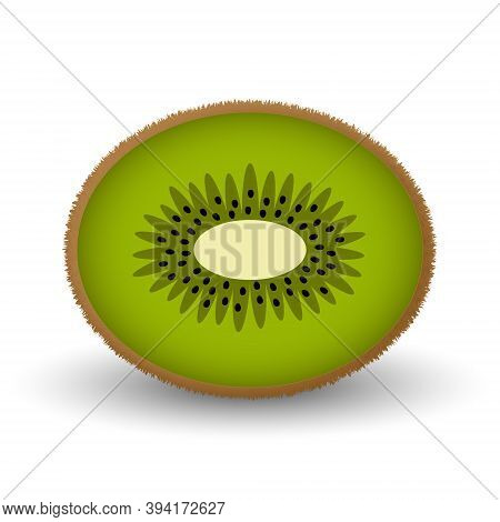 Cute Fluffy Kiwi Isolated On White Background. Half A Kiwi Fruit In Cartoon Style In Bright Colors.