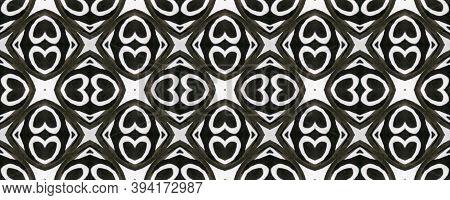 Aztec Lace Pattern. Seamless Tie Dye Ornament. Ikat Mexican Motif. Abstract Kaleidoscope Design. Bla